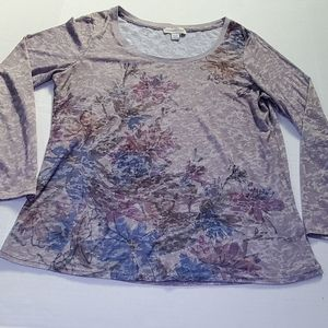 Floral Long sleeve Tee by Coldwater Creek Size L